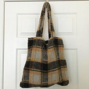 Fuzzy butterscotch plaid faux shearling tote
